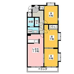 愛知県名古屋市千種区新池町2丁目の賃貸マンションの間取り