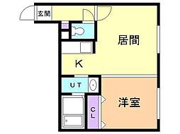 キャステル東札幌 1階1LDKの間取り