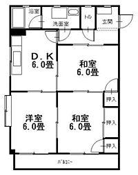 広島県呉市広中町の賃貸アパートの間取り