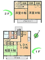 [テラスハウス] 東京都町田市木曽西5丁目 の賃貸【/】の間取り