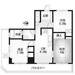 神蔵ビル[8階]の間取り