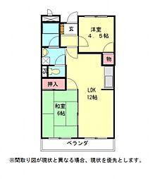 愛知県岩倉市東町掛目の賃貸マンションの間取り