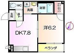 フジパレス堺もず3番館 2階1DKの間取り