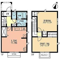 [テラスハウス] 神奈川県厚木市戸室4丁目 の賃貸【/】の間取り