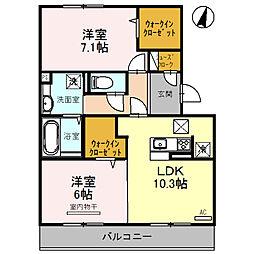 長崎県大村市富の原1丁目の賃貸アパートの間取り
