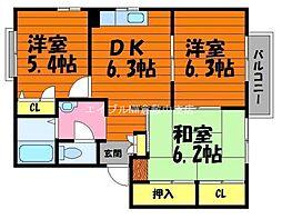 岡山県倉敷市真備町有井丁目なしの賃貸アパートの間取り