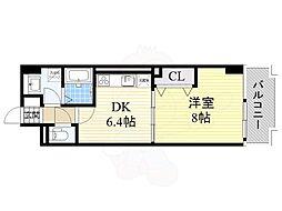 大阪モノレール 沢良宜駅 徒歩10分の賃貸マンション 4階1DKの間取り