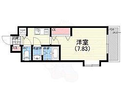阪神本線 青木駅 徒歩1分の賃貸マンション 6階1Kの間取り
