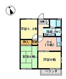 埼玉県坂戸市泉町3丁目の賃貸アパートの間取り