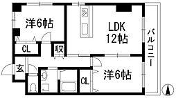 前川マンション3番館[3階]の間取り