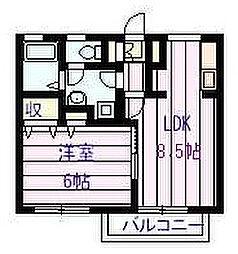 ドリーム5ハイツ A棟 2階1LDKの間取り