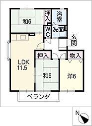 ハートホーム山本B・C・D棟[3階]の間取り