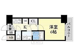クレアート北大阪レヴァンテ 11階1Kの間取り