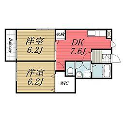 千葉県八街市八街ろの賃貸アパートの間取り