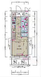 プレサンス天神橋六丁目ヴォワール 7階1Kの間取り