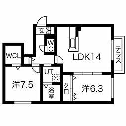 essence310c 1階1LDKの間取り
