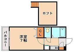 プラムコートリサ[1階]の間取り