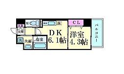 サムティガーデン江坂II 5階1DKの間取り