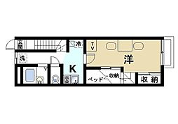 奈良県大和郡山市新町の賃貸アパートの間取り