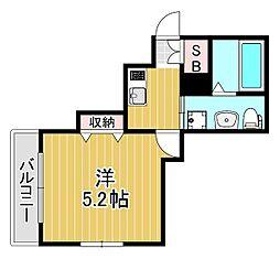 アクエリアス神戸 1階1Kの間取り