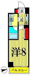 京成押上線 八広駅 徒歩9分の賃貸マンション 1階1Kの間取り