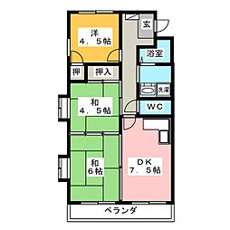 シャトーレ・シン[4階]の間取り