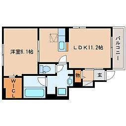 静岡県静岡市葵区瀬名川の賃貸アパートの間取り