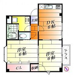 大阪府摂津市三島3丁目の賃貸アパートの間取り