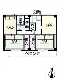 ビレッジハウス津 1号棟[4階]の間取り