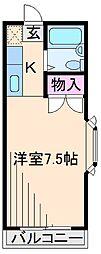 神奈川県横浜市港北区綱島台の賃貸アパートの間取り