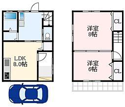 南海高野線 萩原天神駅 徒歩25分の賃貸一戸建て 1階2LDKの間取り