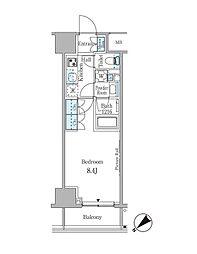 ルビア赤坂 8階1Kの間取り