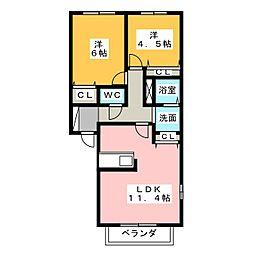 フォーリーブスA[2階]の間取り