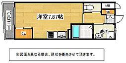 北九州都市モノレール小倉線 旦過駅 徒歩12分の賃貸マンション 5階ワンルームの間取り
