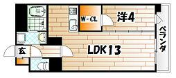 デザイナープリンセス中津口[3階]の間取り