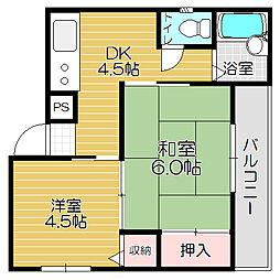 Osaka Metro中央線 緑橋駅 徒歩9分の賃貸マンション 3階2Kの間取り