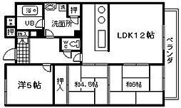 ヒュース尾崎[208号室]の間取り