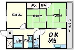 ハイツ山田南[4階]の間取り