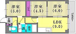 兵庫県神戸市兵庫区西多聞通2丁目の賃貸マンションの間取り
