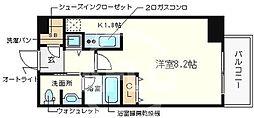 ベルファース大阪新町 2階ワンルームの間取り