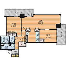 Osaka Metro堺筋線 長堀橋駅 徒歩5分の賃貸マンション 5階2LDKの間取り