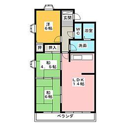 サンライズ箕田駅前ハイツ401[4階]の間取り