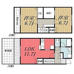[タウンハウス] 千葉県成田市はなのき台3丁目 の賃貸【/】の間取り