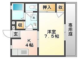 岡山県倉敷市四十瀬の賃貸アパートの間取り