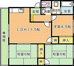福岡県北九州市若松区二島5丁目の賃貸アパートの間取り