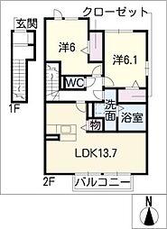 ジャルダン B棟[2階]の間取り