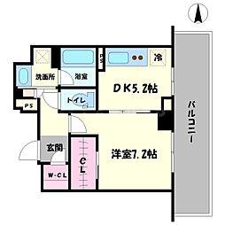 プラウドタワー安堂寺 5階1DKの間取り