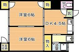 福岡県北九州市八幡西区茶売町の賃貸アパートの間取り