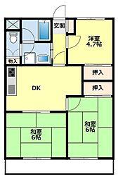 愛知県豊田市月見町1丁目の賃貸マンションの間取り