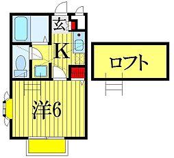 千葉県習志野市本大久保4丁目の賃貸アパートの間取り